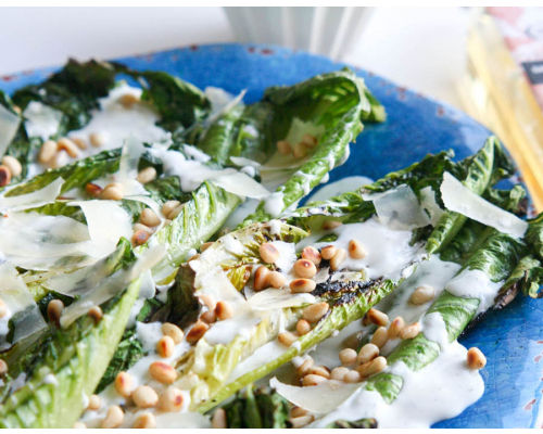 Grilled Romaine Salad with Herb Dressing