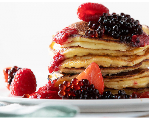 Ricotta Pancakes with Raspberry Pearls